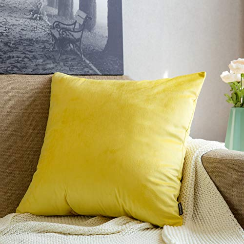 MOFAVA Comfy Velvet Soft Soild Decorative Square Throw Pillow Covers Set Cushion Case for Sofa Bed Bedroom Car Chair 18 x 18 Inch 45 x 45 cm Lemon Yellow (Throws Bed Single)