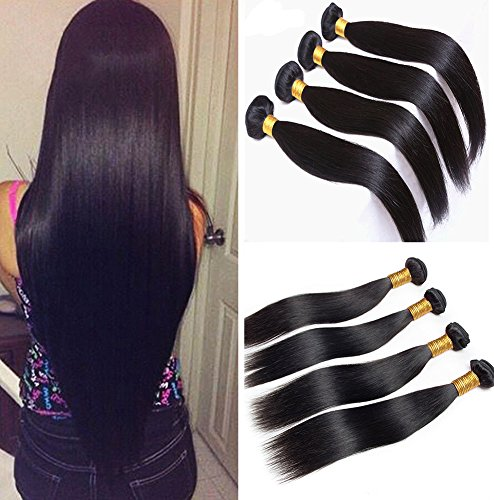 Jaycee Hair 7a Malaysian Virgin Hair Silky Straight Weft 4 Bundles 100% Unprocessed Human Hair Extensions Natural Color (100+/-5g)/pc(22 22 24 24)