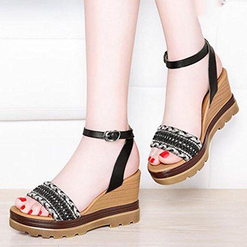 hebilla A Cuñas de la FAFZ A mujeres planas sandalias 34 coreano Sandalias moda parte Roma salvaje Color sandalias zapatos salvaje de inferior las altos de Sandalias verano Tamaño tacones 0wqdB4w