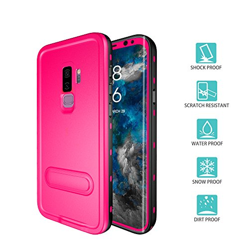Samsung Galaxy S9 Plus Case, IP68 Waterproof Shockproof Dustproof Snowproof Full-Body Heavy Duty Protective Case with Kickstand and Built in Screen Protector for Samsung Galaxy S9+ (Pink)