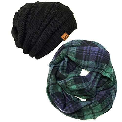 (Wrapables Plaid Print Winter Infinity Scarf and Beanie Hat Set, Blue and Green)