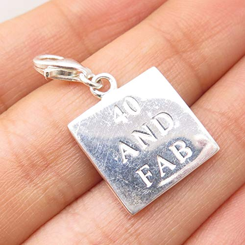 Signed 925 Sterling Silver 40 and Fab Charm Pendant Jewelry Making Supply by Wholesale Charms