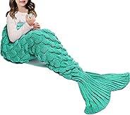 JR.WHITE Mermaid Tail Blanket Kids, Hand Crochet Snuggle Mermaid, All Seasons Seatail Sleeping Bag Blanket