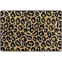 U LIFE Vintage Animal Leopard Texture Stripe Large Area Rug Runner Floor Mat Carpet for Entrance Way Doorway Living Room Bedroom Kitchen Office 36 x 24 & 72 x 48 Inch 3 x 2 & 6 x 4 Feet