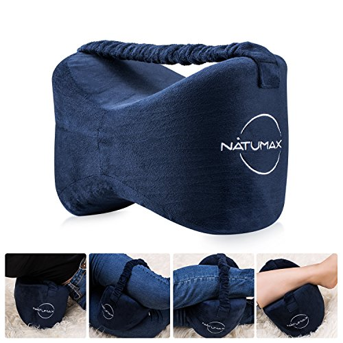 Knee Pillow for Side Sleepers - Sciatica Pain Relief - Back Pain, Leg Pain, Pregnancy, Hip and Joint Pain - NATUMAX Memory Foam Leg Pillow with Washable Cover + Free Sleep Mask and Ear Plugs