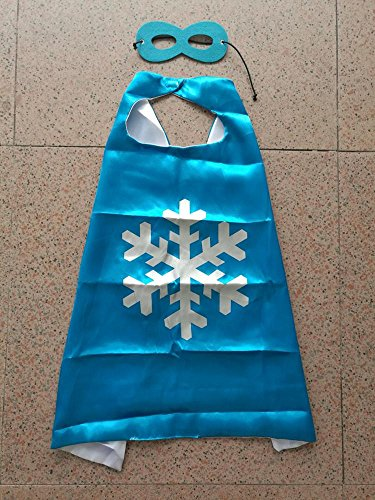 Superhero Halloween Party Cape and Mask Set for Kids 15+ Styles! (Frozen Snowflake (Blue 1)) (Big Man Costume Ideas)