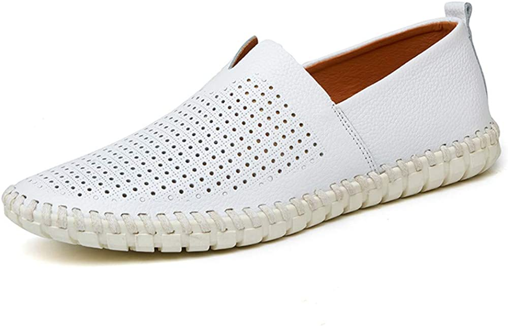 CHENDX Shoes Mens Fashion Light Soft Leather Drive Loafers Casual Hollow Breathable A Foot Pedal Boat Moccasins Color : Hollow White, Size : 10 M US