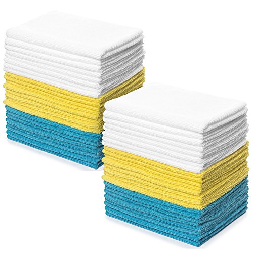 Royal Reusable Microfiber Cleaning Cloth Set - 12 x 16 Inch Microfiber Cloth - (48 Pack) Washcloth, Auto Detailing Supplies – Cleaning Rags, Works Great with - Washcloths Cars Baby