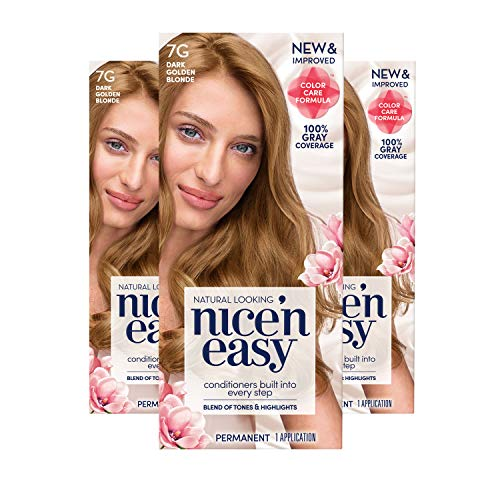 Clairol Nice 'n Easy Permanent Hair Color, 7G Dark Golden Blonde, 3 Count, Blondes (Packaging May Vary)