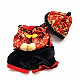 Gollyking Dog Chinese New Year Style Costume Jumpsuit Coat Pets Dogs Cats Winter Clothes (with hat - M)