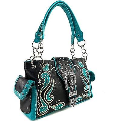 Justin West Western Purse Tooled Laser Cut Floral Design Studs Rhinestone Buckle Concealed Carry Handbag