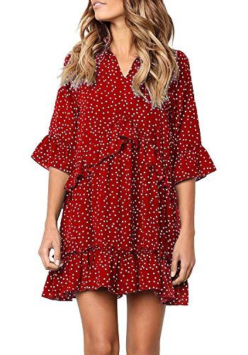 Chunoy Women Polka Dot Mini Dress with Pockets V Neck Short Sleeve Ruffles Casual Sundress Red Small ()