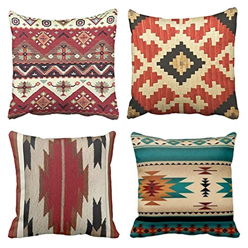 Emvency Set of 4 Throw Pillow Covers Tribal Patterns Geometric Indian Native Western Southwest Pattern Ideas Vintage Decorative Pillow Cases Home Decor Square 20x20 Inches Pillowcases