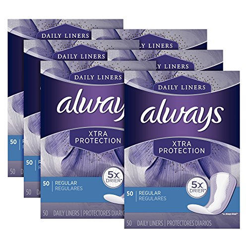 - Always Xtra Protection Daily Feminine Panty Liners for Women, Regular,  Unscented, 50 Count - Pack of 6 (300 Total Count)