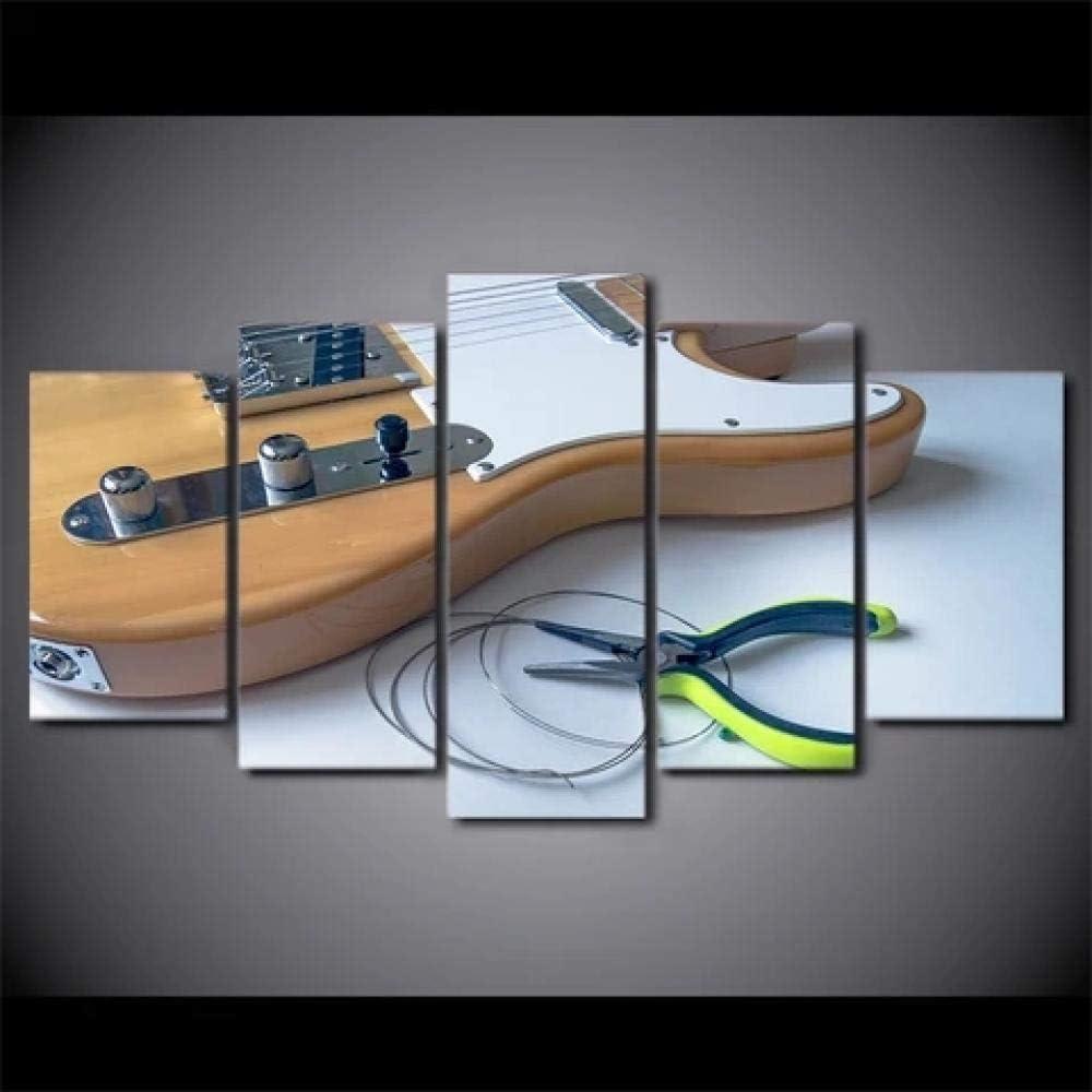 13Tdfc Cuadro En Lienzo 150X80Cm Guitarra De Madera con Cuerda Impresión De 5 Piezas Material Tejido No Tejido Impresión Artística Imagen Gráfica Decor Pared
