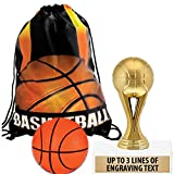 Crown Awards Basketball Goodie Bags, Basketball Favors for Basketball Themed Party Supplies Comes with Personalized Gold Kids Basketball Trophy, Squishball and Basketball Drawstring 20 Pack Prime