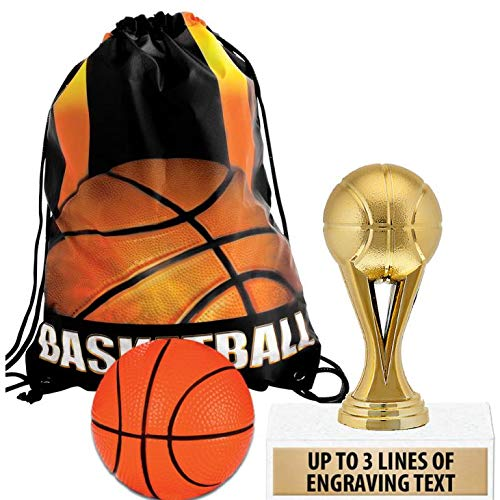 Crown Awards Basketball Goodie Bags, Basketball Favors for Basketball Themed Party Supplies Comes with Personalized Gold Kids Basketball Trophy, Squishball and Basketball Drawstring 20 Pack Prime by Crown Awards (Image #4)