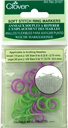 Clover Soft Stitch Ring Markers-30/Pkg