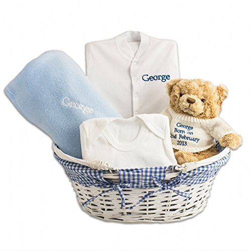 Personalised baby gift basket blue amazon kitchen home personalised baby gift basket blue negle Choice Image