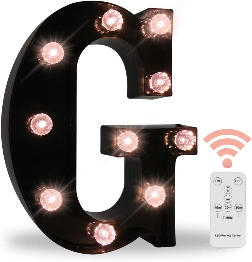 Black Marquee Letters with Lights, LED Light Up Letters Battery Operated Dimmable for Wall Decor, Wedding, Birthday Decorations -Black Letter G