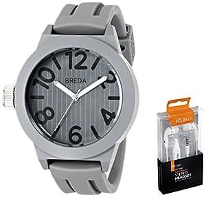 Breda Men's 8137-grey.hp Jaxon Bold Bezel Silicone Band Watch with Ear Buds Set