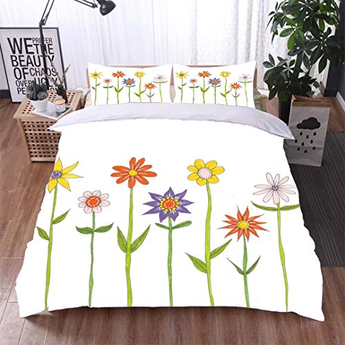 VROSELV-HOME Cotton Bedding Sets,Flowers with Long Stems and Leaves,Soft,Breathable,Hypoallergenic,Print Queen 1 Duvet Cover 2 Pillowcases Wrinkle Fade - Long Print Stem