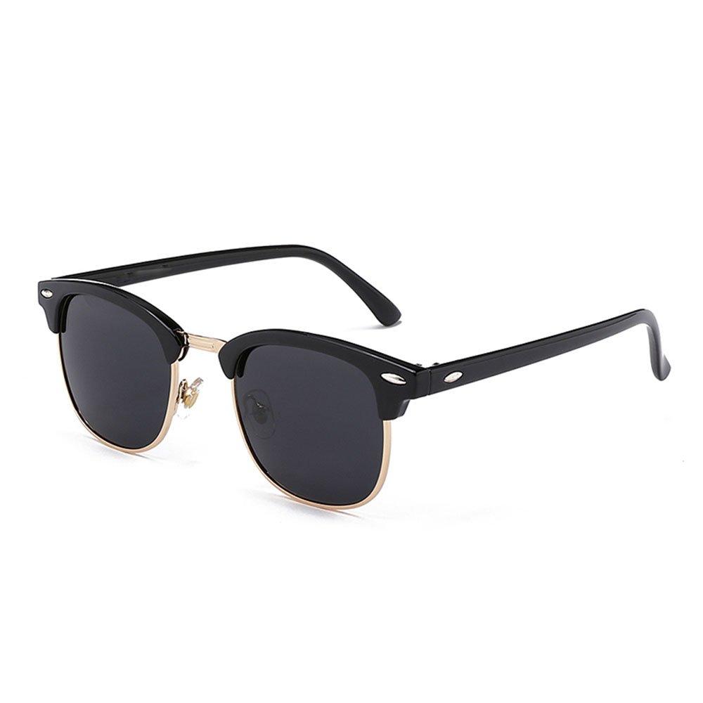 Semi Rimless Polarized Sunglasses,Moozhi UV 400 Protection sunglasses for Men Half Metal WomenBLACK