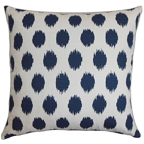Ikat Euro Sham - The Pillow Collection EURO-PP-CHIPPER-NAVY-C100 Navy Blue Faustine Ikat Bedding Sham, European/26