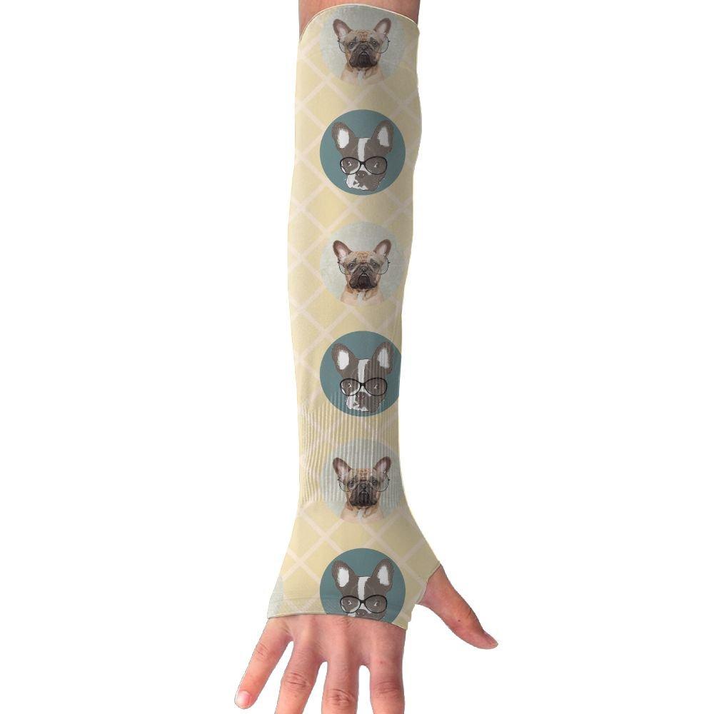 NUNOFOG Lovely Bulldog Unisex Summer Arm Cover Sleeves Long Fingerless Sun-proof Anti-UV Long Gloves For Outdoor