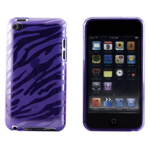 Boho Tronics TM Zebra Animal Print Smooth Silicone TPU Rubber Case Cover Skin - Compatible With Apple iPod Touch 4 G - Purple