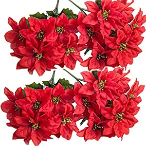 Homcomoda Christmas Red Artificial Flower Faux Poinsettia Bush Fake Flowers for Holiday Wedding Home Decoration 7 Heads 4 Bouquets
