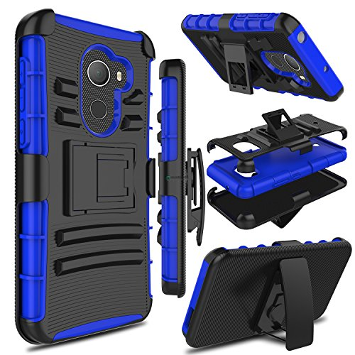 Alcatel A30 Fierce 2017 Phone Case 5.5 Inch, not Tablet Case 8 Inch, Zenic Heavy Duty Shockproof Full-body Protective Case with Swivel Belt Clip and Kickstand for Alcatel A30 Plus(Black/Blue)