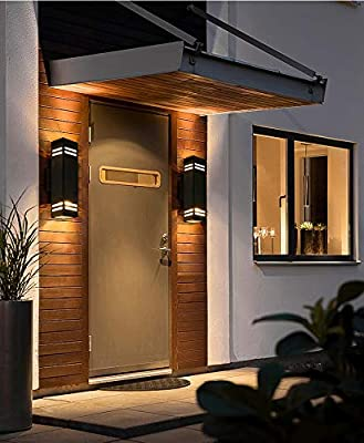 Cerdeco 67351TZ Brandon 2-Light Outdoor Wall Lamp Sand Textured Black with 3-Sided Frosted Glasses UL Listed