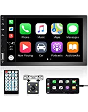 Apple Carplay Double Din Car Stereo, Rimoody 7 Inch Touchscreen Car Radio Bluetooth FM Radio TF USB Mirror Link Multimedia MP5 Player with Remote Control & Backup Camera