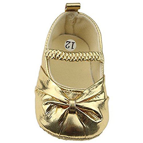 Smallt Baby Girl Soft Sole Pu Toddler Shoes (M=12=6-9 Months, Bling Gold)
