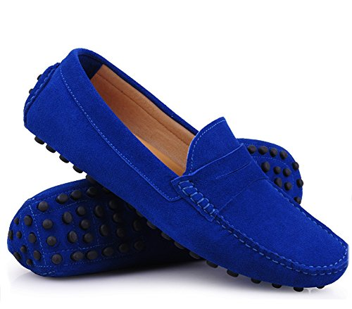 Santimon Mens Casual Comfort Genuine Nubuck Leather Running Outdoor Low Boat Shoes Moccasin Loafers Skyblue zaOYBf6vfz
