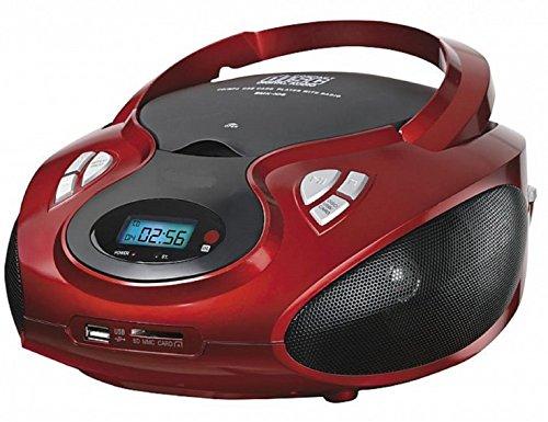 Tragbarer CD MP3 Player USB SD-Card Radio Tragbares Kinder CD-Radio Boombox (Rot)