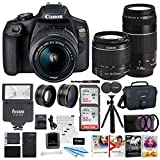 Canon EOS Rebel T7 DSLR Camera EF-S 18-55mm and EF 75-300mm Double Zoom Lens + 200ES Bag + Total of 64GB Card and Battery Pack Accessory Bundle