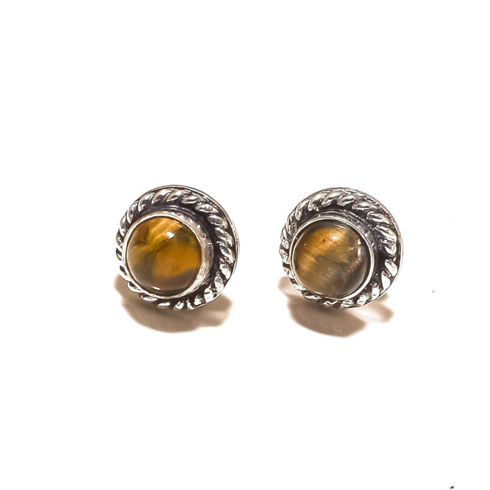 Modern Jewelry Brown Tiger Eye Sterling Silver Overlay 4 Grams Stud//Earring 10mm