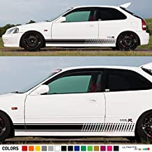 2x Decal Sticker Vinyl Side Racing Stripes Compatible with Honda Civic Type R EK9 1997,1998,1999,2000