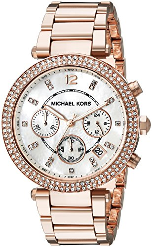 Michael Kors Womens Parker Rose Gold-Tone Watch MK5491