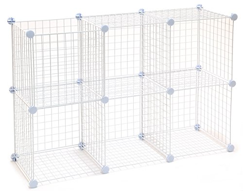 KC Store Fixtures 04136 Mini Grid Storage Unit, White, 6 Cubes, Pounds by kc store fixtures