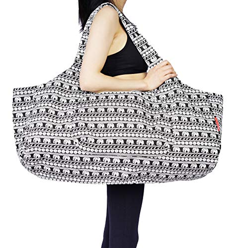 - Aozora Yoga Mat Bag Large Yoga Mat Tote Sling Carrier with Pockets Fits Mats with Multi-Functional Storage Pockets Light and Durable (Elephant)