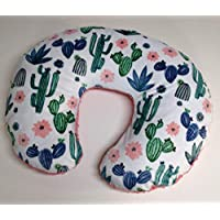 Minky Nursing Pillow Cover. Cactus Bloom Cuddle, you choose the Dimple Dot back. Back is pictured in Coral Dimple Dot. 1-3 days to ship.