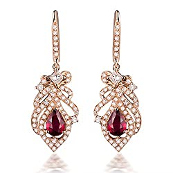Rose Gold Diamond Ruby Drop Earrings