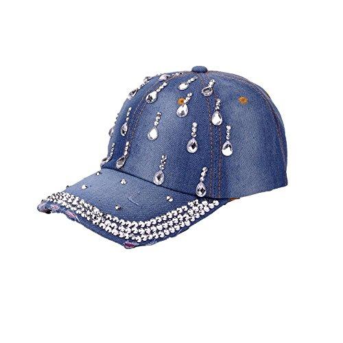 Deer Mum Ladies US Flag Denim Jean Campagne Bling Ajustable Baseball Cap Cowboy Hat (Water-Drop Blue) (Cap Pearl Drop)