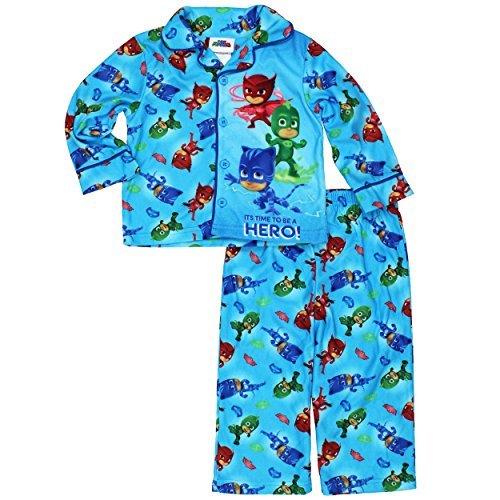 Blue Coat Style Pajamas - Disney Junior PJ Masks Little Boys Flannel Coat Style Pajamas (3T, Hero Blue)