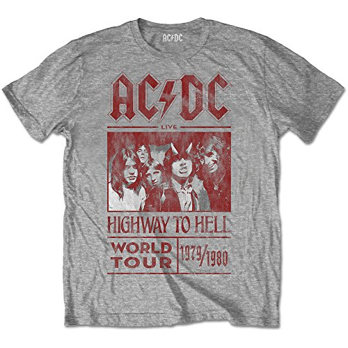 AC/DC Men's High Voltage Highway To Hell World Tour 1979/80 Tee Shirt (Medium) (Highway To Hell, Medium)