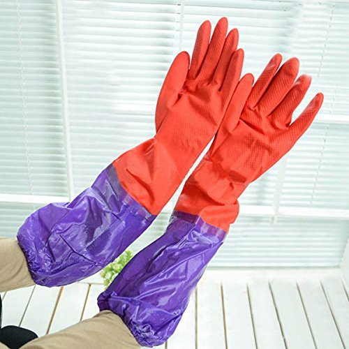 Kitchen Wash Dishes Cleaning Long Sleeves Rubber Latex Waterproof Gloves Tool