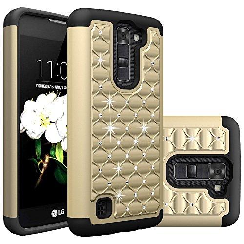 Bling Rhinestone Diamond Cover (LG K7 Case, Tribute 5 Case, Sophmy Diamond Studded Bling Crystal Rhinestone Dual Layer Hybrid Cover Silicone Rubber Skin Hard Case For LG K7, LG Tribute 5 (gold))